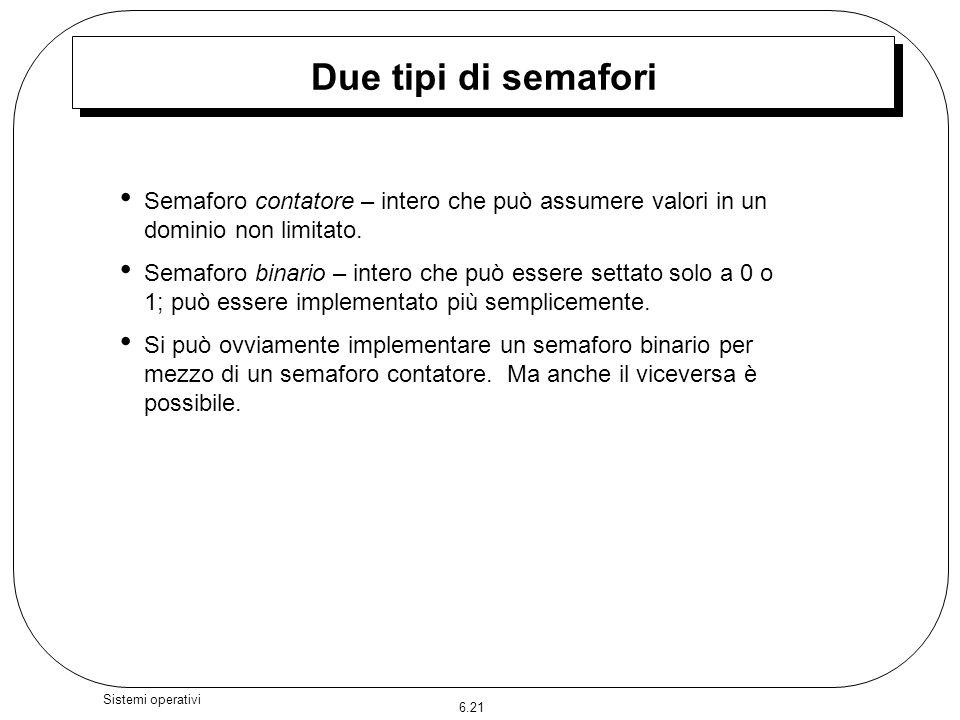 Due tipi di semafori Semaforo contatore – intero che può assumere valori in un dominio non limitato.