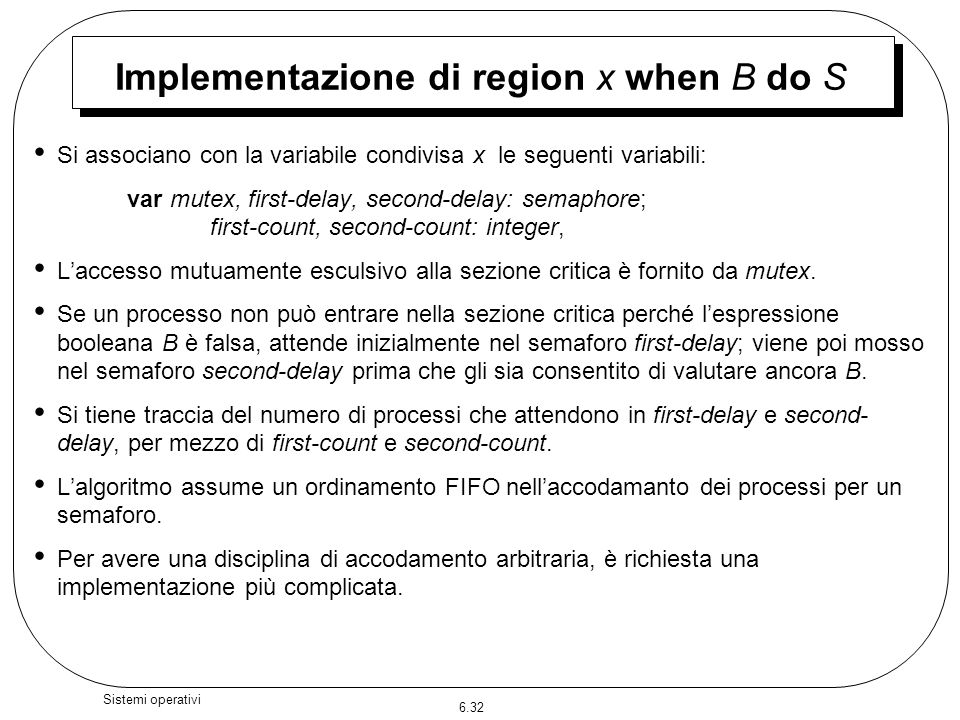 Implementazione di region x when B do S