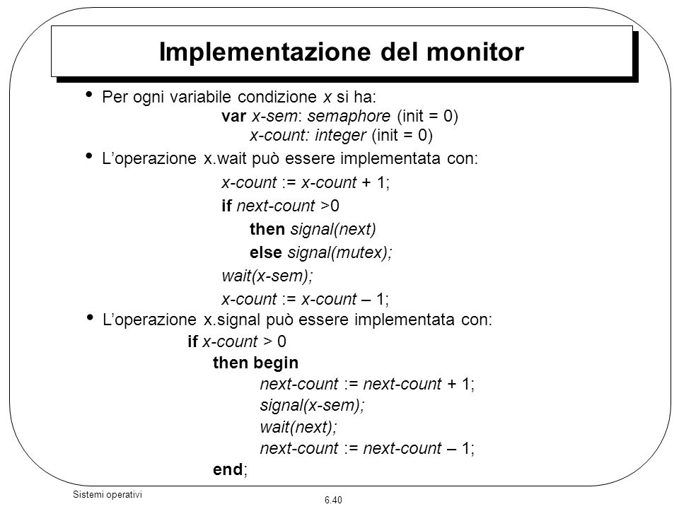 Implementazione del monitor
