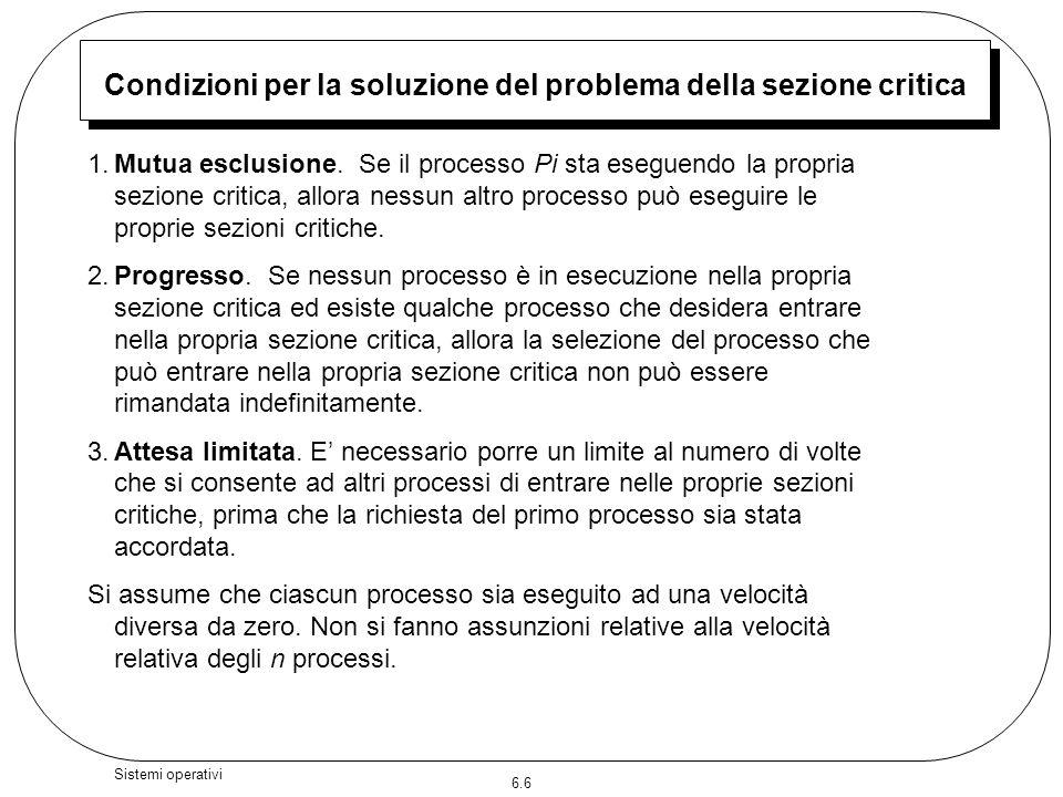 Condizioni per la soluzione del problema della sezione critica