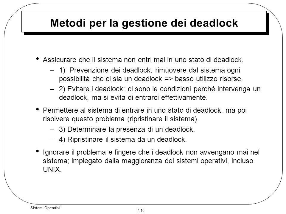 Metodi per la gestione dei deadlock