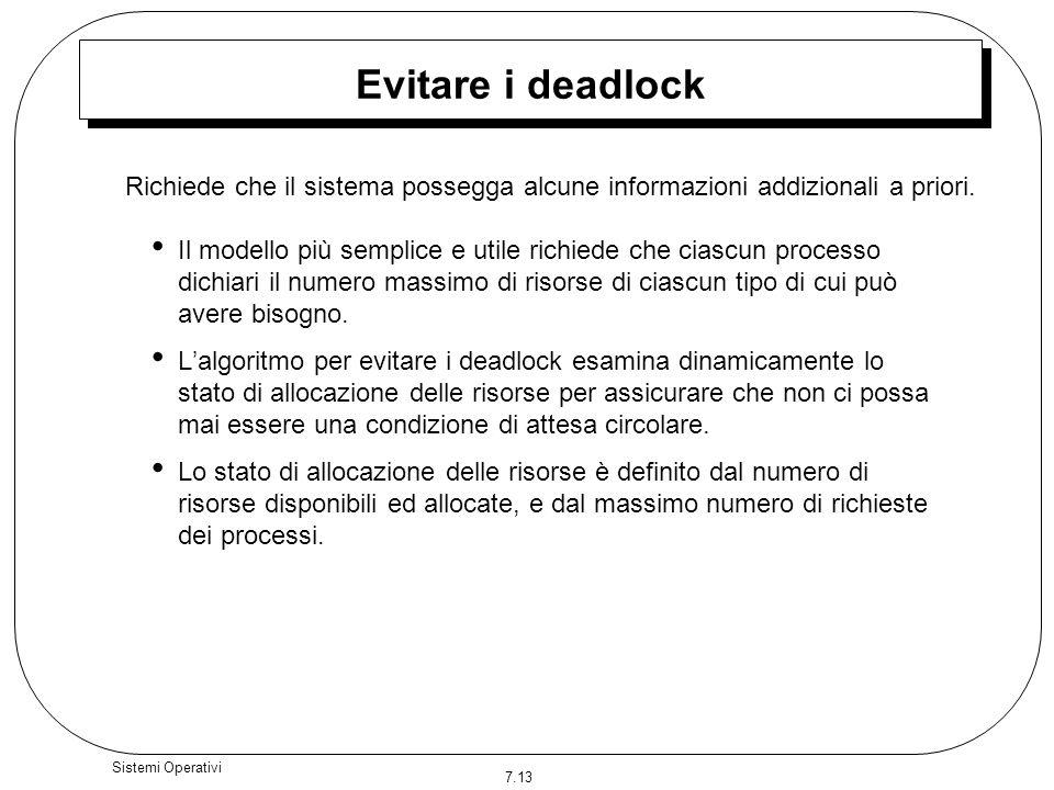 Evitare i deadlock Richiede che il sistema possegga alcune informazioni addizionali a priori.