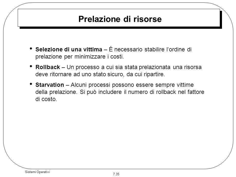 Prelazione di risorse Selezione di una vittima – È necessario stabilire l'ordine di prelazione per minimizzare i costi.