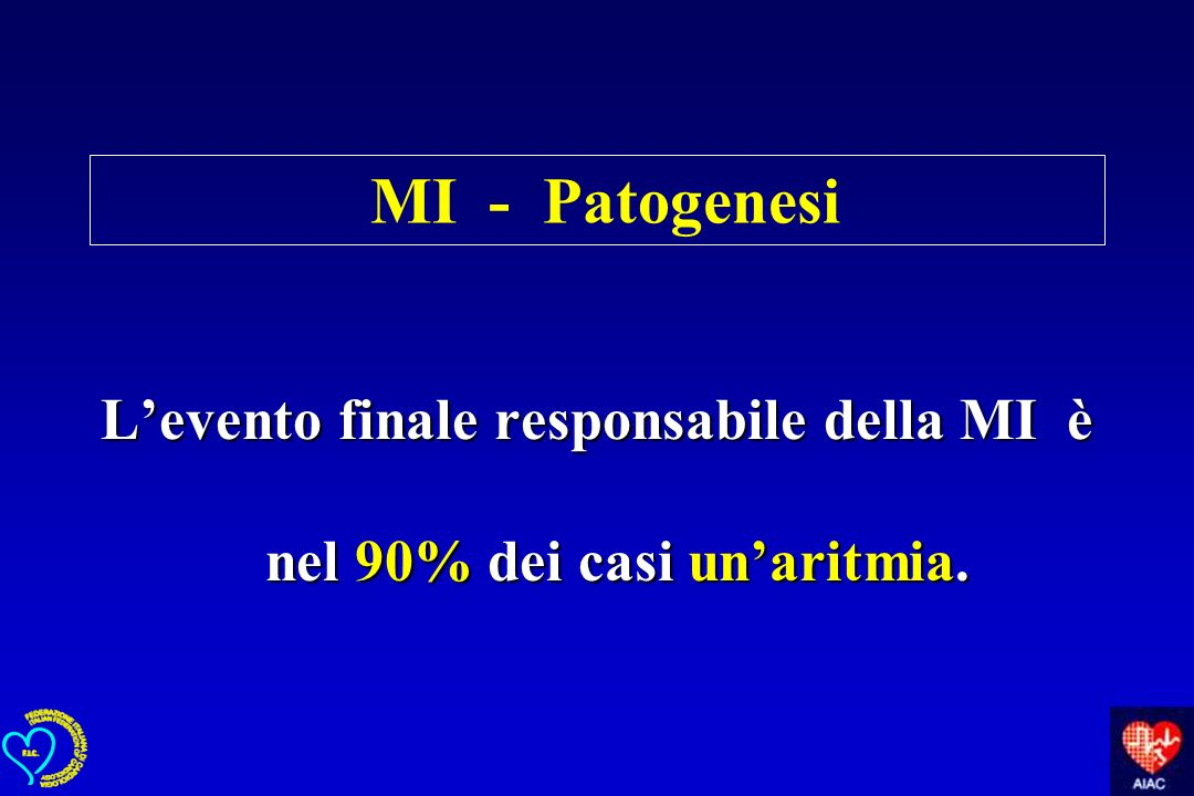 L'evento finale responsabile della MI è nel 90% dei casi un'aritmia.