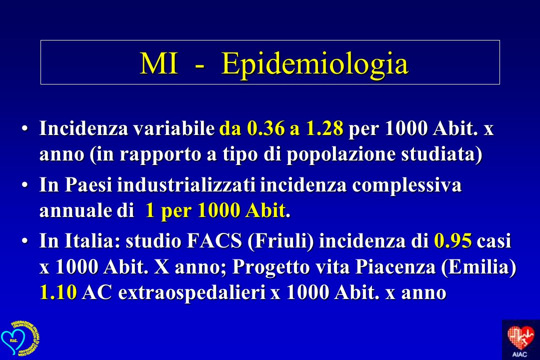 MI - Epidemiologia Incidenza variabile da 0.36 a 1.28 per 1000 Abit. x anno (in rapporto a tipo di popolazione studiata)