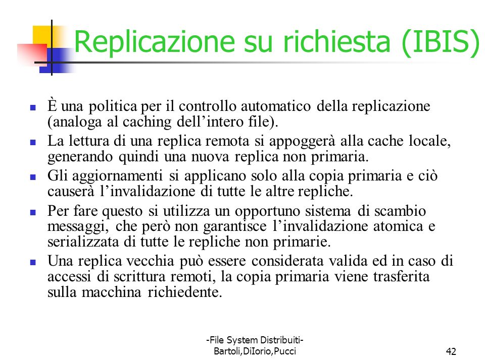 Replicazione su richiesta (IBIS)