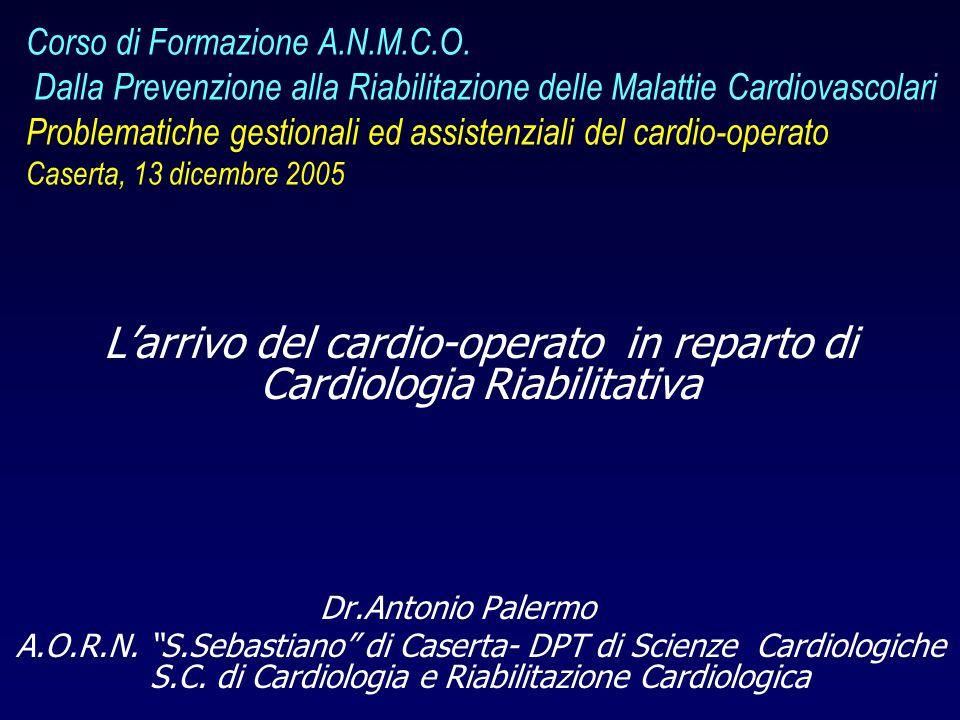 L'arrivo del cardio-operato in reparto di Cardiologia Riabilitativa