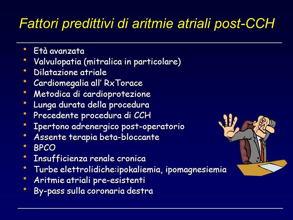 Fattori predittivi di aritmie atriali post-CCH