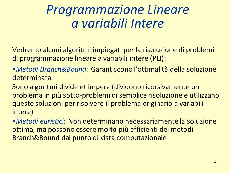 Programmazione Lineare a variabili Intere