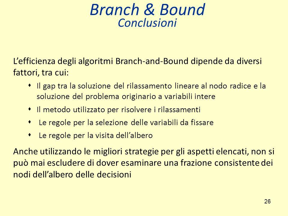 Branch & Bound Conclusioni