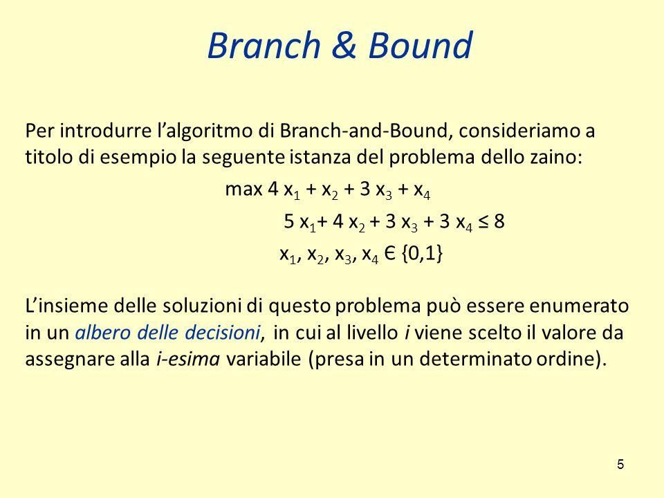 Branch & Bound Per introdurre l'algoritmo di Branch-and-Bound, consideriamo a titolo di esempio la seguente istanza del problema dello zaino:
