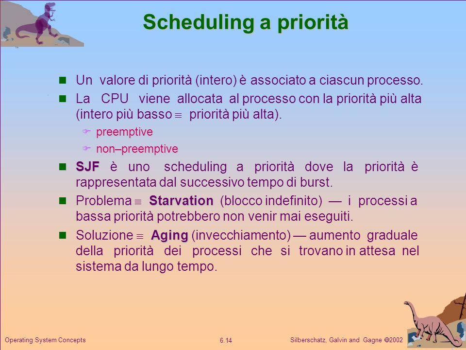 Scheduling a priorità Un valore di priorità (intero) è associato a ciascun processo.
