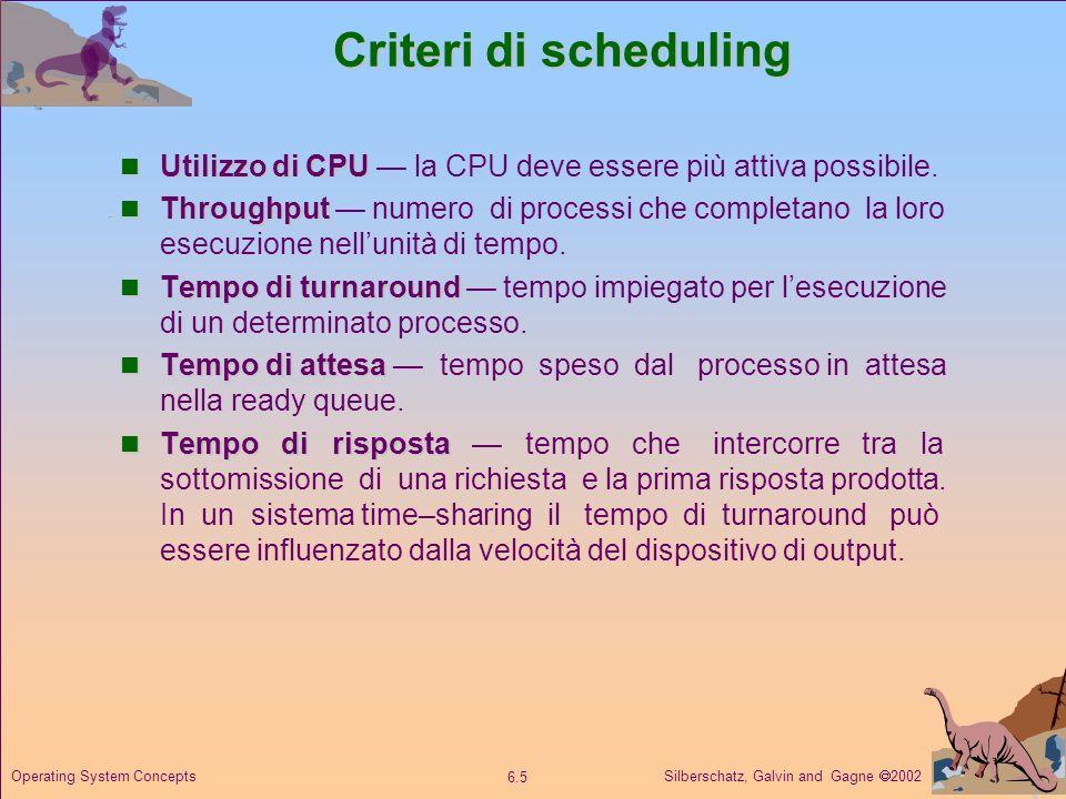 Criteri di scheduling Utilizzo di CPU — la CPU deve essere più attiva possibile.