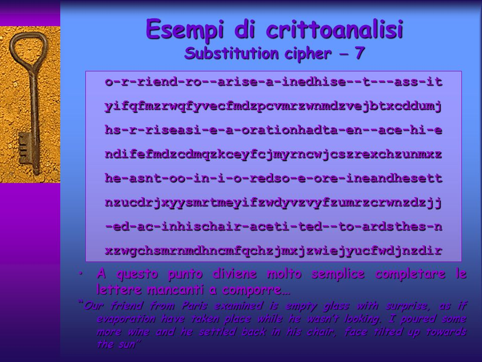 Esempi di crittoanalisi