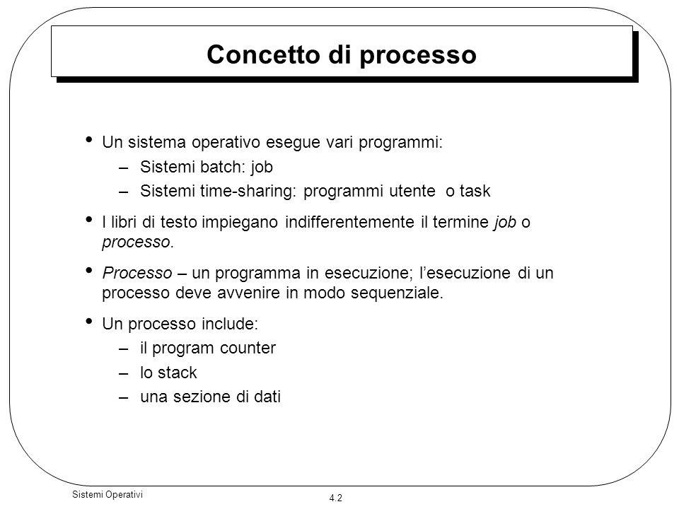 Concetto di processo Un sistema operativo esegue vari programmi: