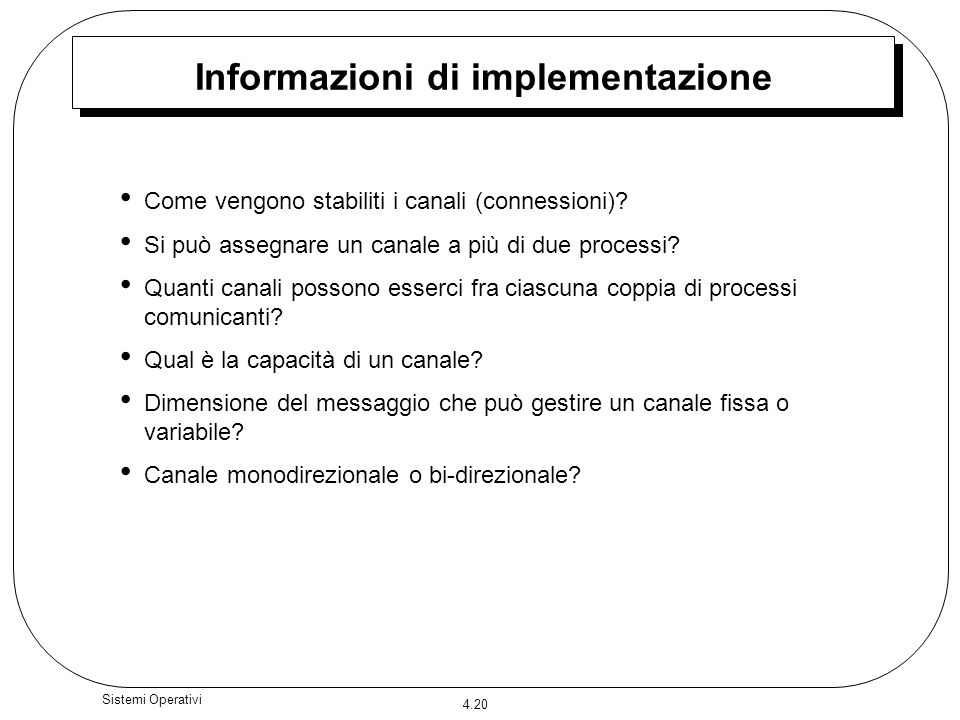 Informazioni di implementazione