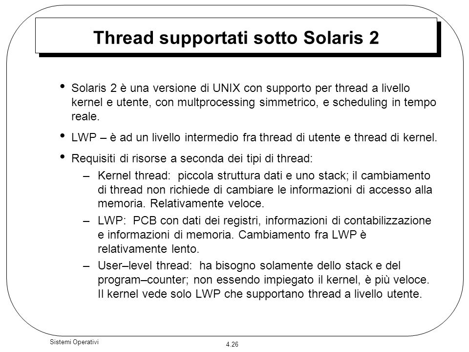 Thread supportati sotto Solaris 2