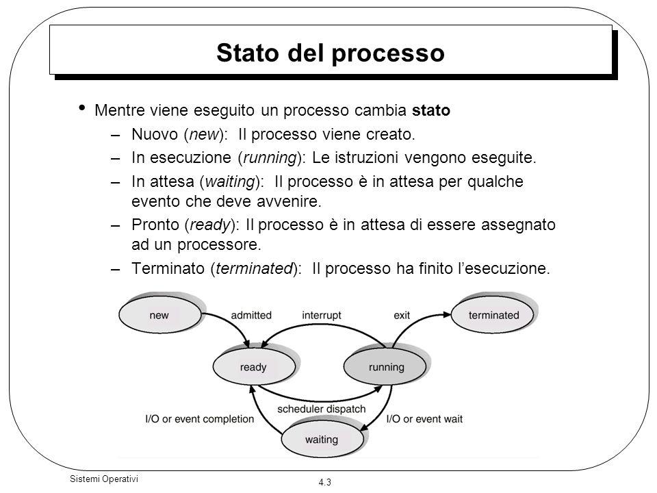 Stato del processo Mentre viene eseguito un processo cambia stato