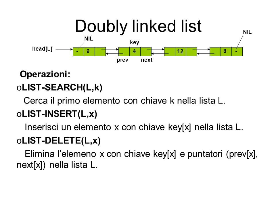 Doubly linked list Operazioni: LIST-SEARCH(L,k) LIST-INSERT(L,x)