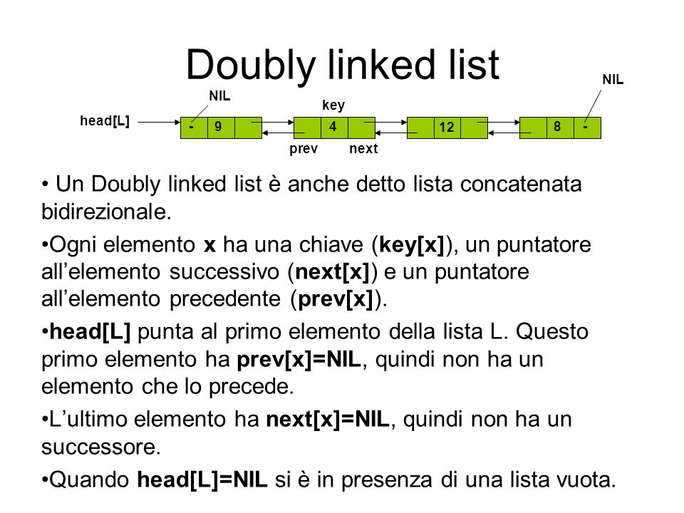 Doubly linked list NIL. NIL. key. head[L] prev. next.