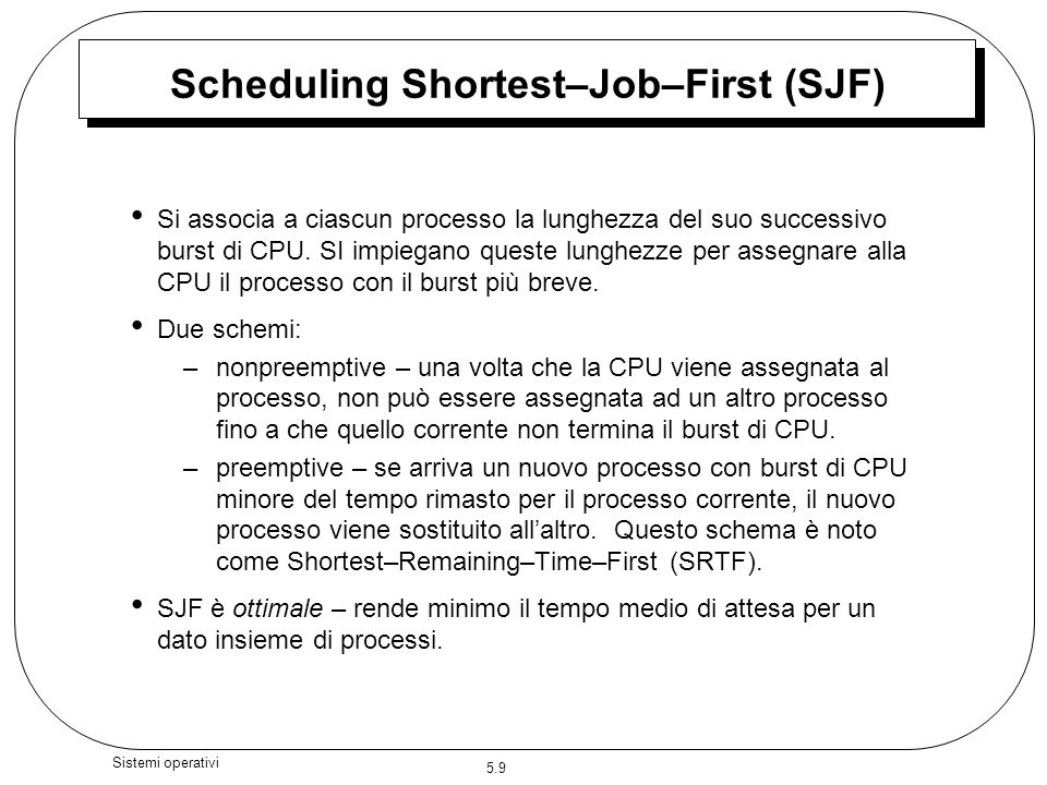 Scheduling Shortest–Job–First (SJF)
