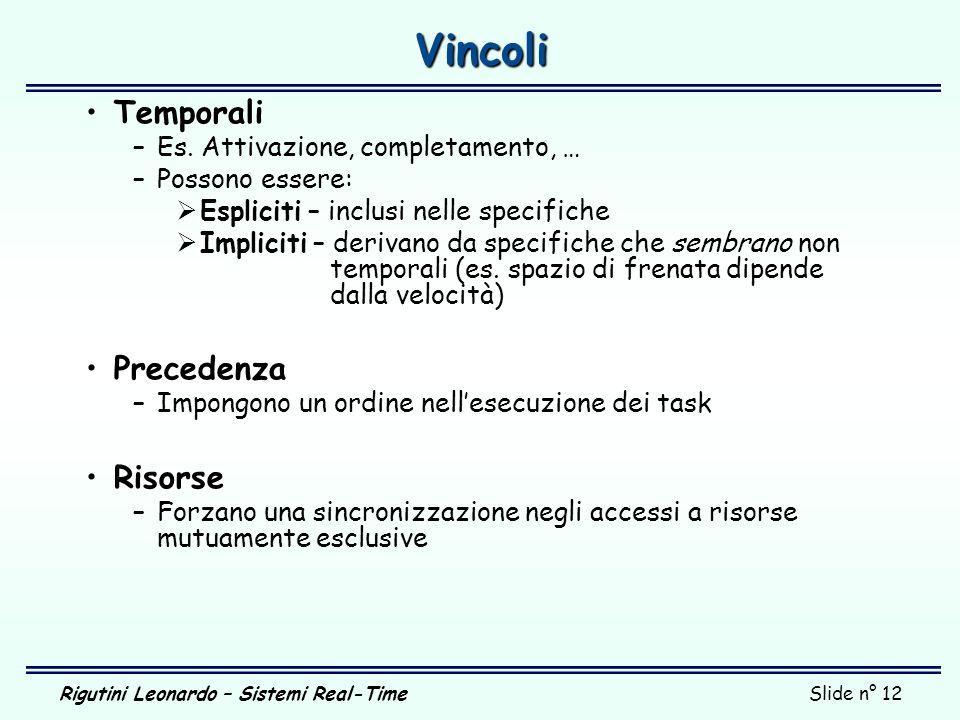 Vincoli Temporali Precedenza Risorse Es. Attivazione, completamento, …