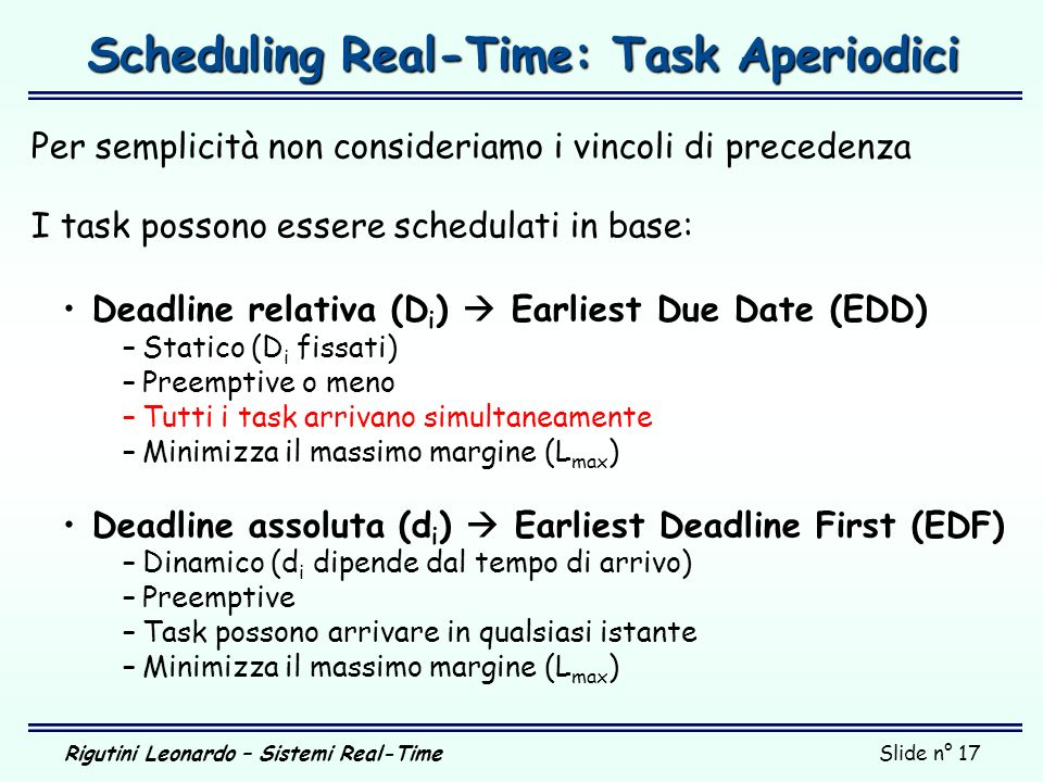 Scheduling Real-Time: Task Aperiodici