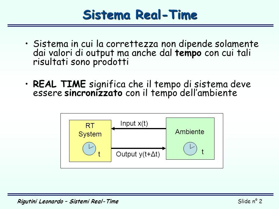Sistema Real-Time Sistema in cui la correttezza non dipende solamente dai valori di output ma anche dal tempo con cui tali risultati sono prodotti.
