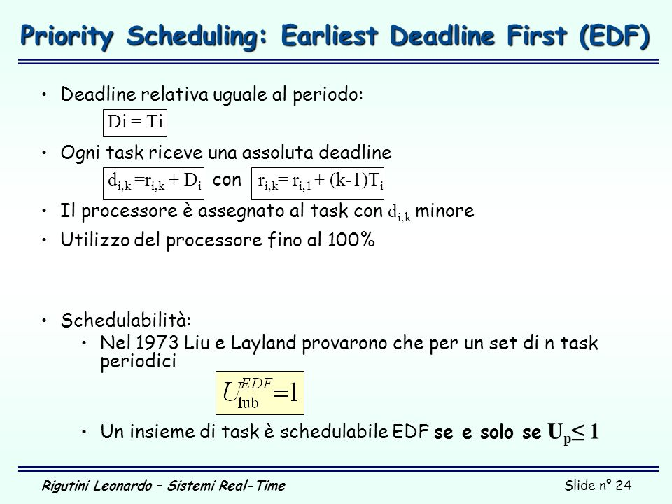Priority Scheduling: Earliest Deadline First (EDF)