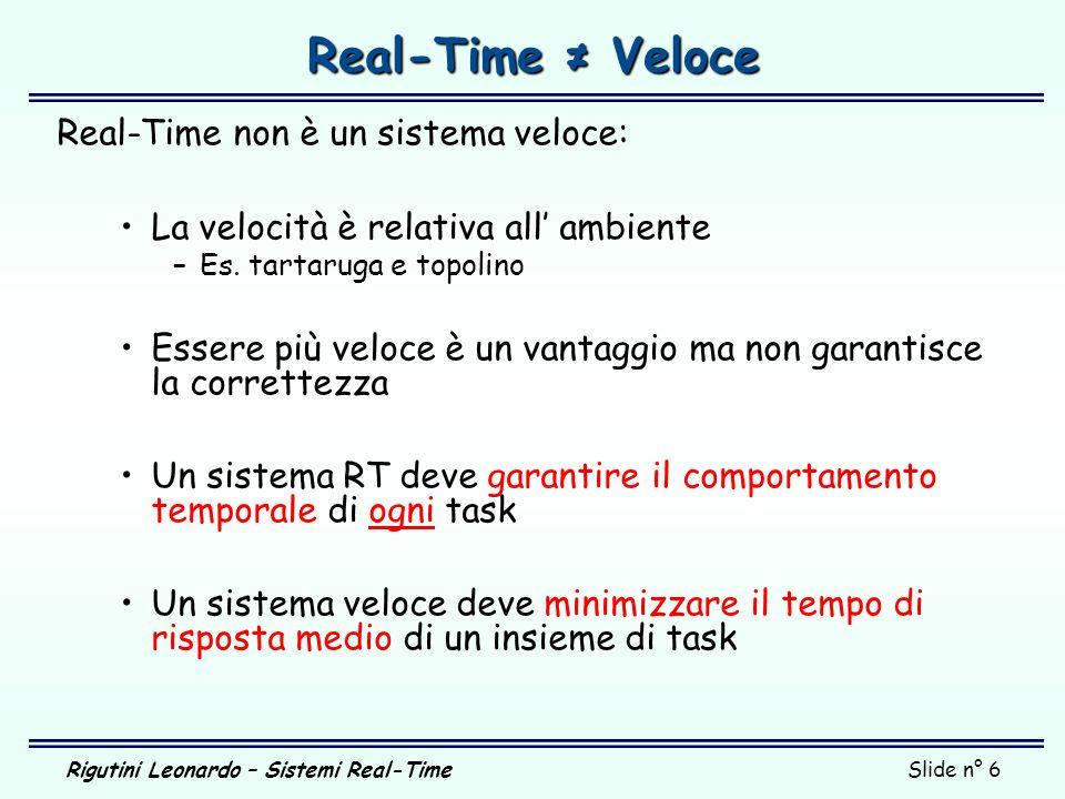 Real-Time ≠ Veloce Real-Time non è un sistema veloce: