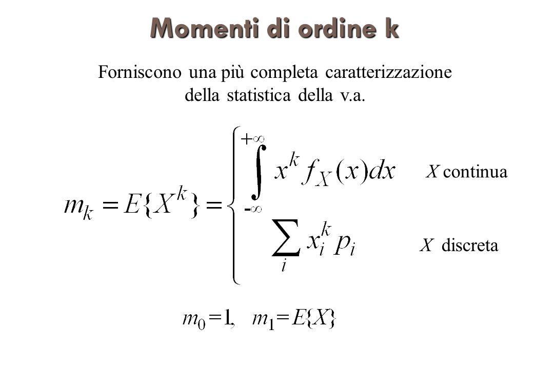 Momenti di ordine k Forniscono una più completa caratterizzazione della statistica della v.a. X continua.