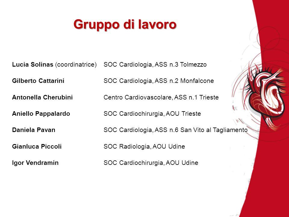 Gruppo di lavoro Lucia Solinas (coordinatrice) SOC Cardiologia, ASS n.3 Tolmezzo. Gilberto Cattarini SOC Cardiologia, ASS n.2 Monfalcone.