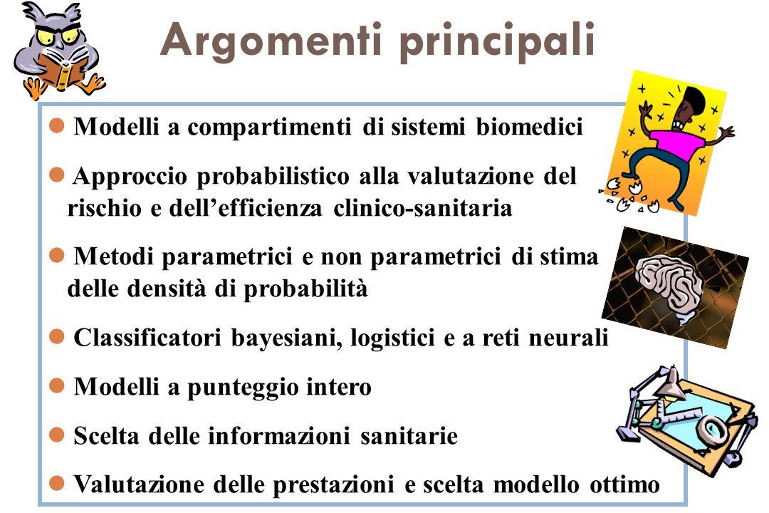 Argomenti principali Modelli a compartimenti di sistemi biomedici