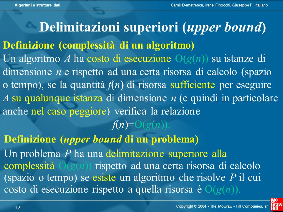 Delimitazioni superiori (upper bound)