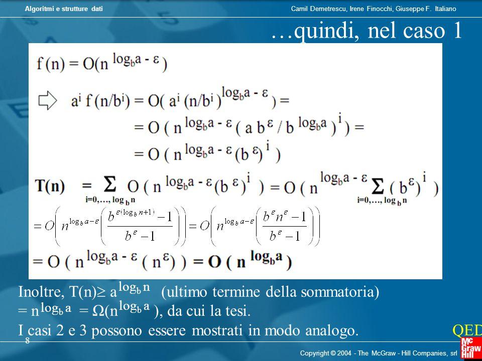 …quindi, nel caso 1 Inoltre, T(n) a (ultimo termine della sommatoria)