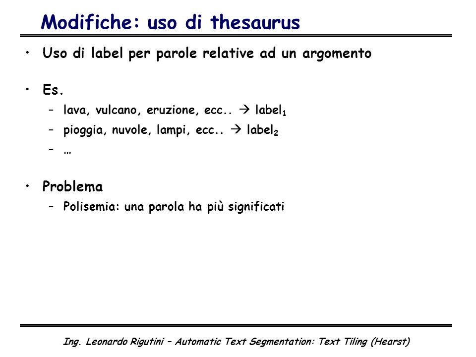 Modifiche: uso di thesaurus