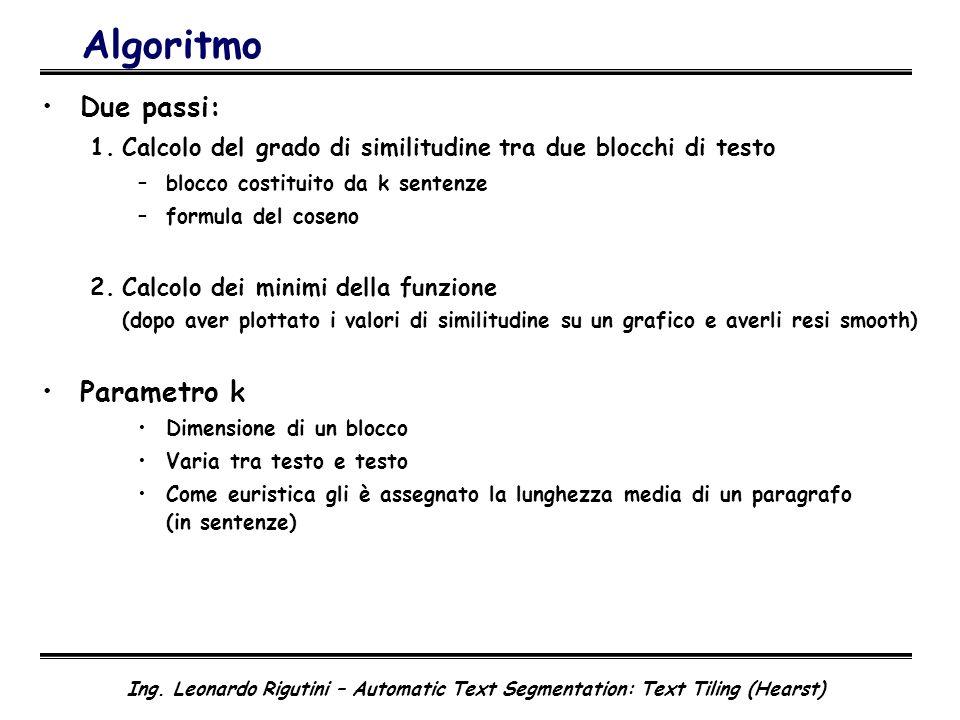 Algoritmo Due passi: Parametro k
