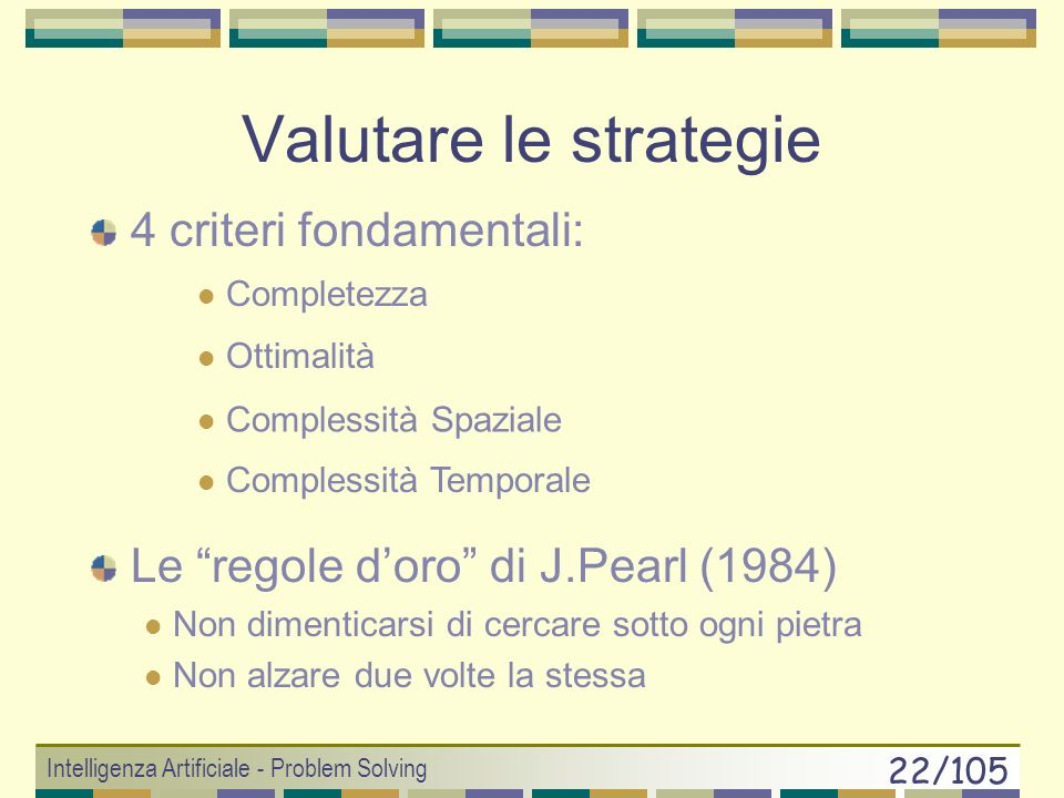 Valutare le strategie 4 criteri fondamentali: