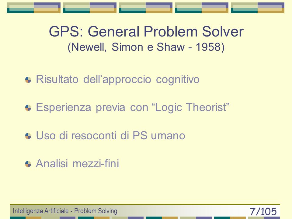 GPS: General Problem Solver (Newell, Simon e Shaw - 1958)