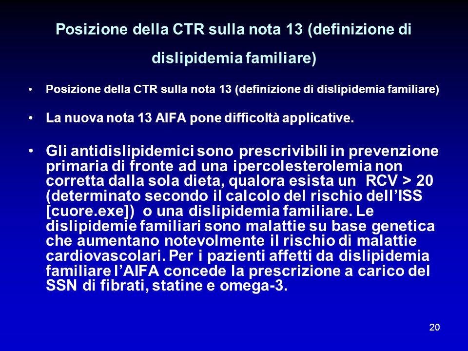 Posizione della CTR sulla nota 13 (definizione di dislipidemia familiare)