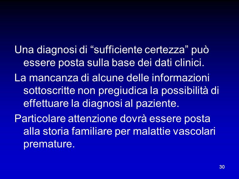Una diagnosi di sufficiente certezza può essere posta sulla base dei dati clinici.