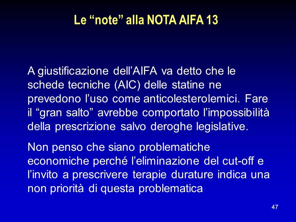 Le note alla NOTA AIFA 13