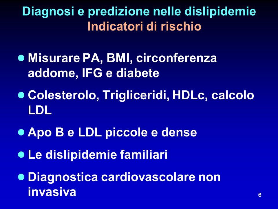 Diagnosi e predizione nelle dislipidemie Indicatori di rischio