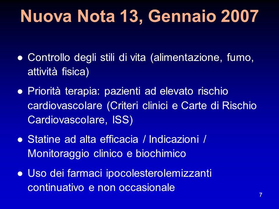 Nuova Nota 13, Gennaio 2007 Controllo degli stili di vita (alimentazione, fumo, attività fisica)