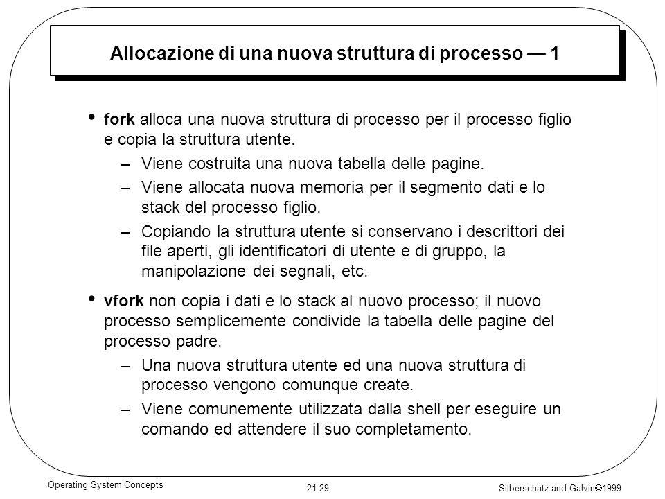 Allocazione di una nuova struttura di processo — 1