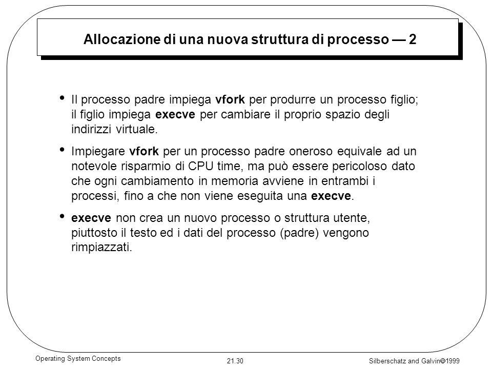 Allocazione di una nuova struttura di processo — 2