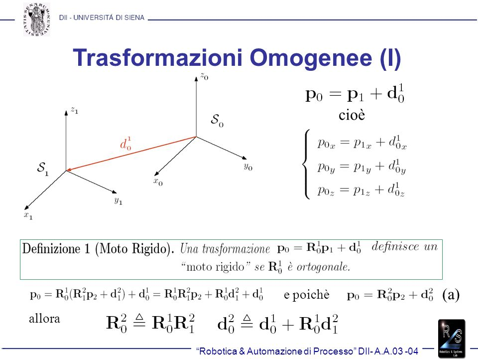 Trasformazioni Omogenee (I)