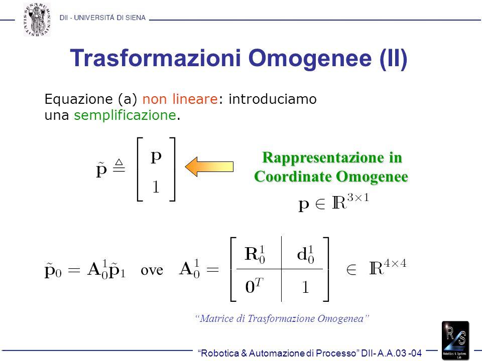 Trasformazioni Omogenee (II)