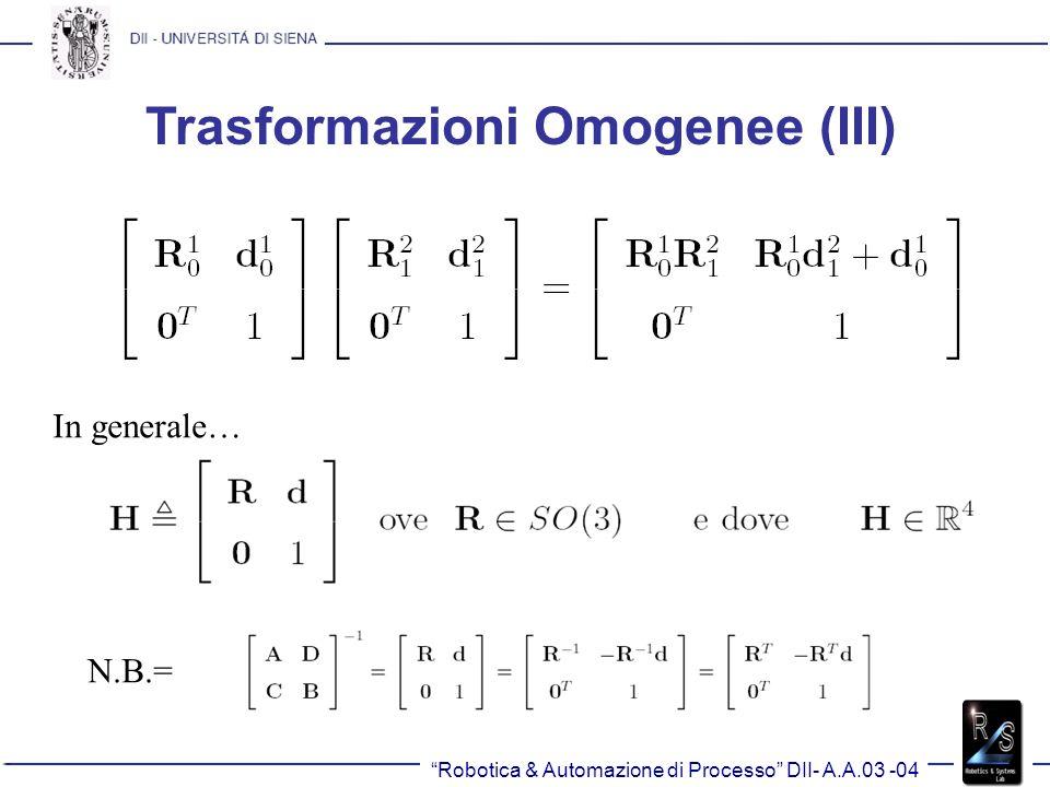 Trasformazioni Omogenee (III)
