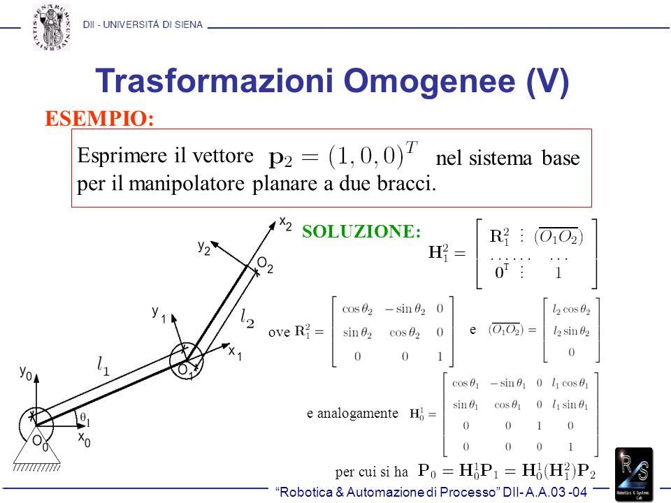 Trasformazioni Omogenee (V)